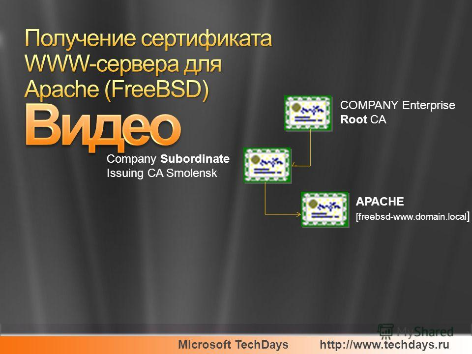 Microsoft TechDayshttp://www.techdays.ru COMPANY Enterprise Root CA Company Subordinate Issuing CA Smolensk APACHE [freebsd-www.domain.local ]