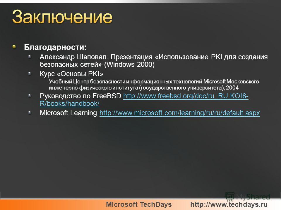 Благодарности: Александр Шаповал. Презентация «Использование PKI для создания безопасных сетей» (Windows 2000) Курс «Основы PKI» Учебный Центр безопасности информационных технологий Microsoft Московского инженерно-физического института (государственн