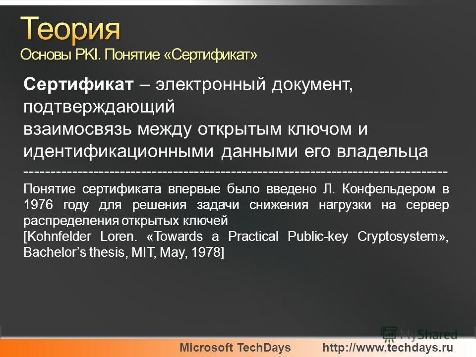 Microsoft TechDayshttp://www.techdays.ru Сертификат – электронный документ, подтверждающий взаимосвязь между открытым ключом и идентификационными данными его владельца -------------------------------------------------------------------------------- П