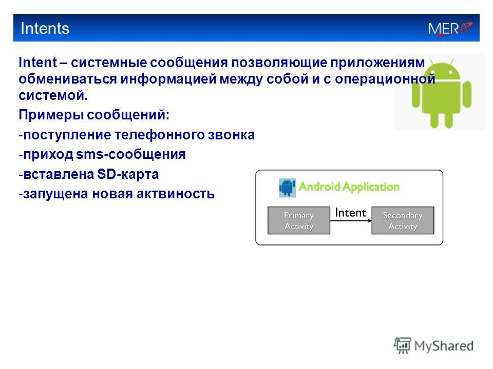 Intents Intent – системные сообщения позволяющие приложениям обмениваться информацией между собой и с операционной системой. Примеры сообщений: -поступление телефонного звонка -приход sms-сообщения -вставлена SD-карта -запущена новая актвиность