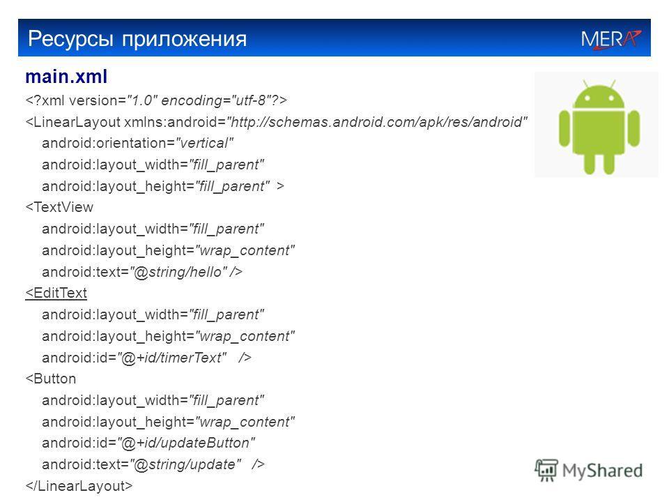 Ресурсы приложения main.xml