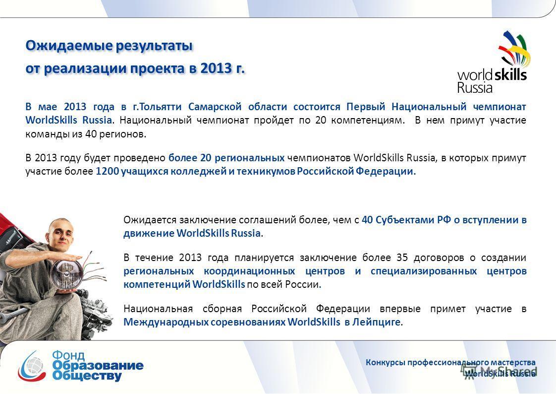 В мае 2013 года в г.Тольятти Самарской области состоится Первый Национальный чемпионат WorldSkills Russia. Национальный чемпионат пройдет по 20 компетенциям. В нем примут участие команды из 40 регионов. В 2013 году будет проведено более 20 региональн
