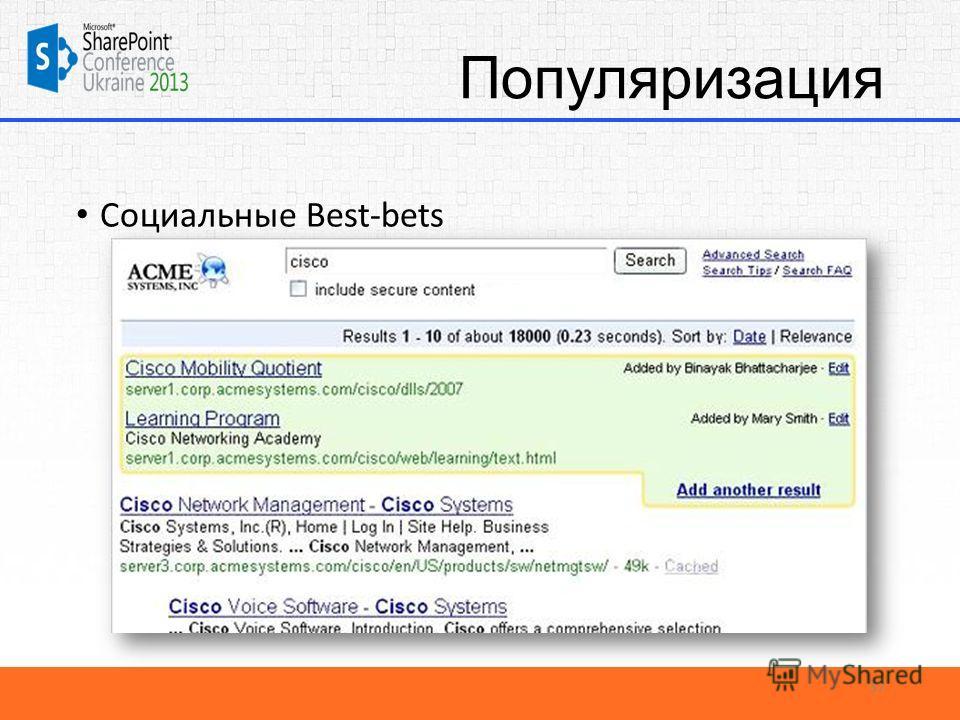 Популяризация Социальные Best-bets 37