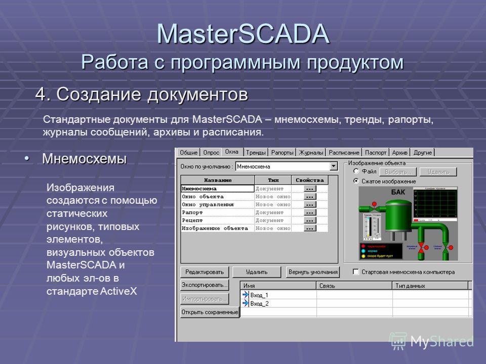 MasterSCADA Работа с программным продуктом 4. Создание документов Стандартные документы для MasterSCADA – мнемосхемы, тренды, рапорты, журналы сообщений, архивы и расписания. Мнемосхемы Мнемосхемы Изображения создаются с помощью статических рисунков,