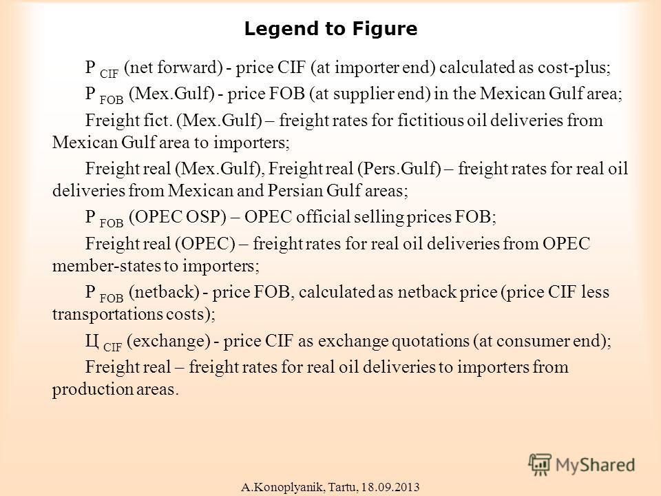 Legend to Figure P CIF (net forward) - price CIF (at importer end) calculated as cost-plus; P FOB (Mex.Gulf) - price FOB (at supplier end) in the Mexican Gulf area; Freight fict. (Mex.Gulf) – freight rates for fictitious oil deliveries from Mexican G