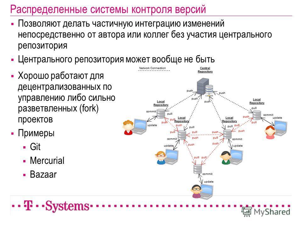 Распределенные системы контроля версий Позволяют делать частичную интеграцию изменений непосредственно от автора или коллег без участия центрального репозитория Центрального репозитория может вообще не быть Хорошо работают для децентрализованных по у
