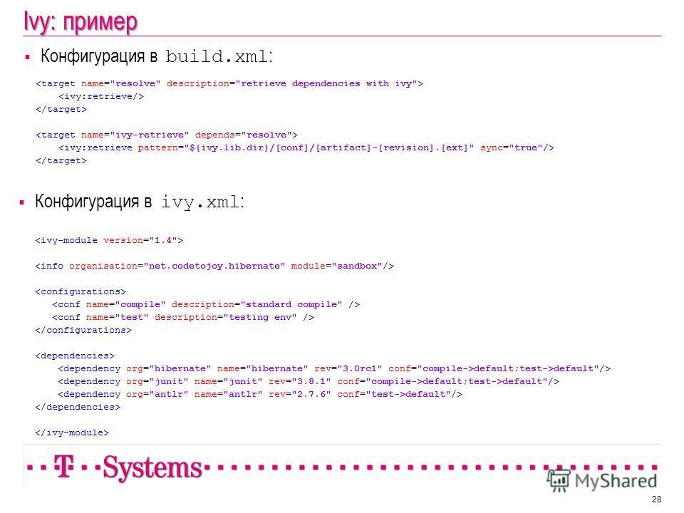 Ivy: пример Конфигурация в build.xml : 28 Конфигурация в ivy.xml :