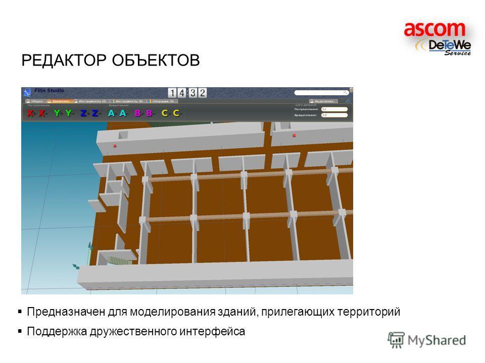 Предназначен для моделирования зданий, прилегающих территорий Поддержка дружественного интерфейса РЕДАКТОР ОБЪЕКТОВ