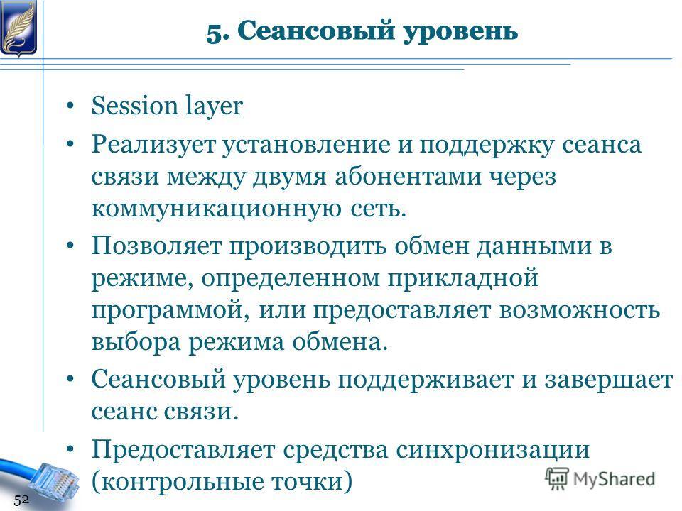 Session layer Реализует установление и поддержку сеанса связи между двумя абонентами через коммуникационную сеть. Позволяет производить обмен данными в режиме, определенном прикладной программой, или предоставляет возможность выбора режима обмена. Се