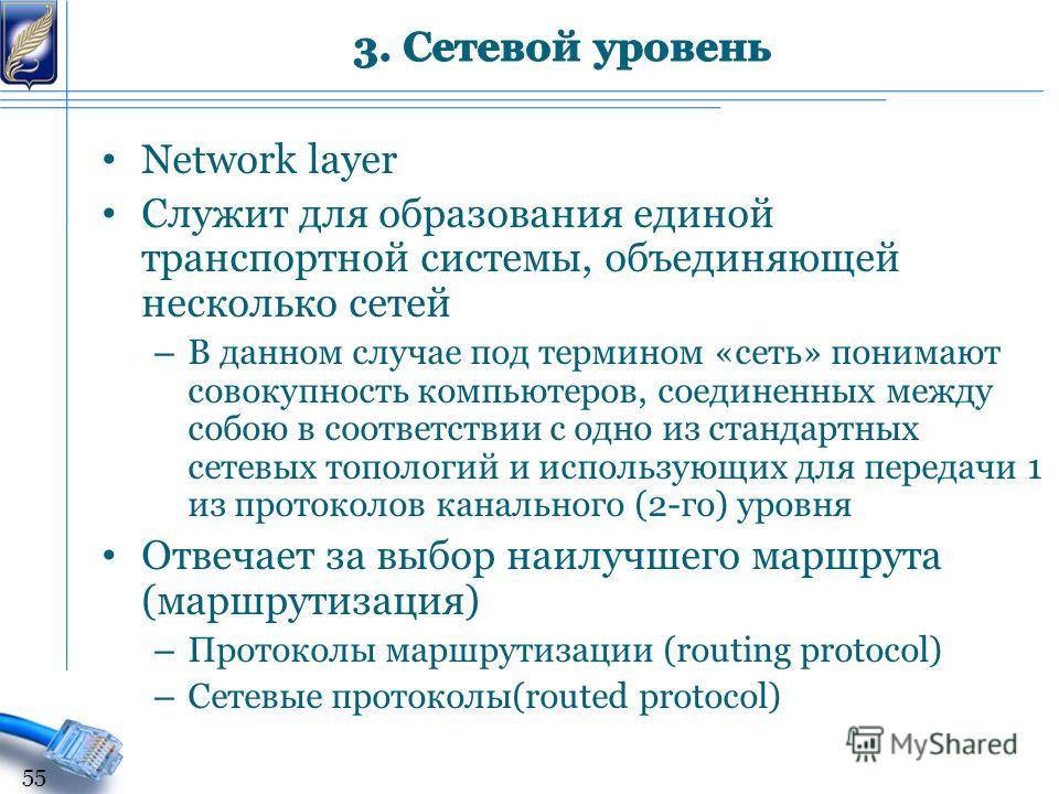 Network layer Служит для образования единой транспортной системы, объединяющей несколько сетей – В данном случае под термином «сеть» понимают совокупность компьютеров, соединенных между собою в соответствии с одно из стандартных сетевых топологий и и