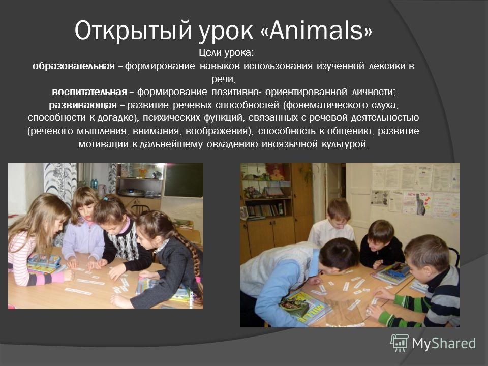 Открытый урок «Animals» Цели урока: образовательная – формирование навыков использования изученной лексики в речи; воспитательная – формирование позитивно- ориентированной личности; развивающая – развитие речевых способностей (фонематического слуха,