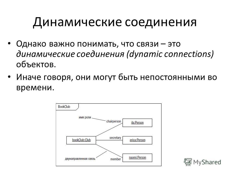 Динамические соединения Однако важно понимать, что связи – это динамические соединения (dynamic connections) объектов. Иначе говоря, они могут быть непостоянными во времени.