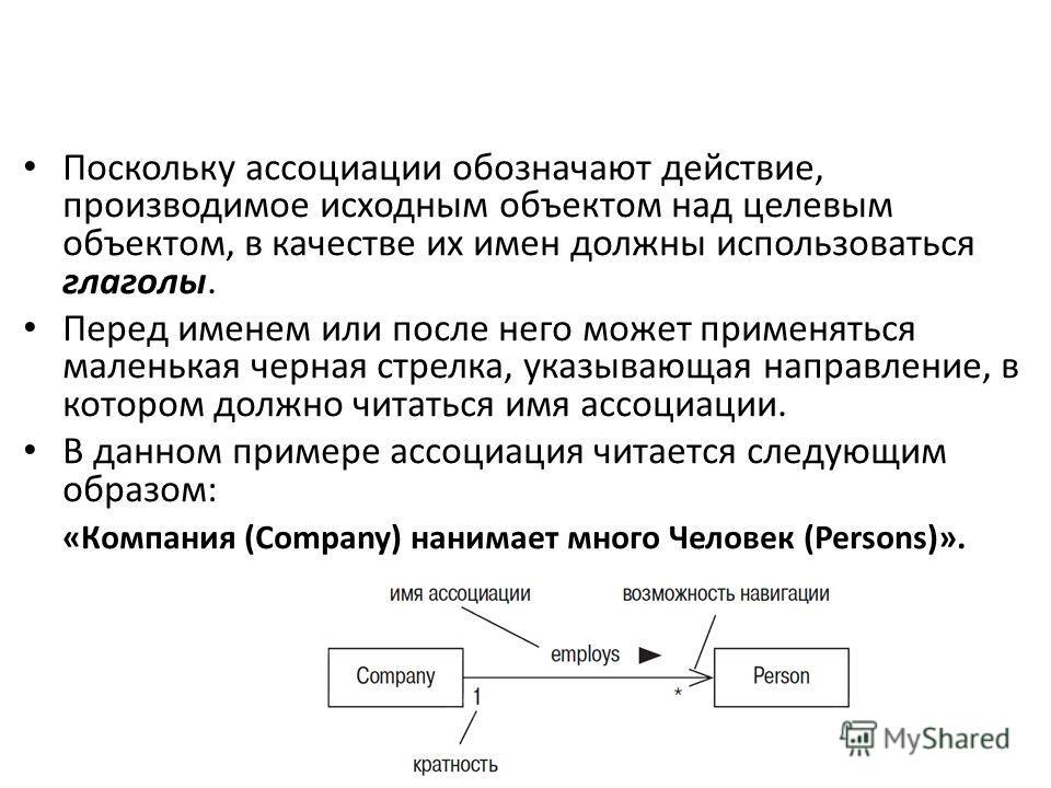 Поскольку ассоциации обозначают действие, производимое исходным объектом над целевым объектом, в качестве их имен должны использоваться глаголы. Перед именем или после него может применяться маленькая черная стрелка, указывающая направление, в которо