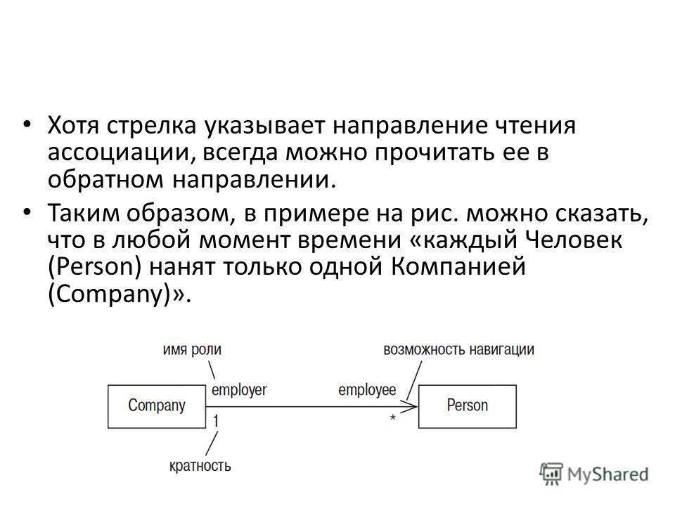 Хотя стрелка указывает направление чтения ассоциации, всегда можно прочитать ее в обратном направлении. Таким образом, в примере на рис. можно сказать, что в любой момент времени «каждый Человек (Person) нанят только одной Компанией (Company)».