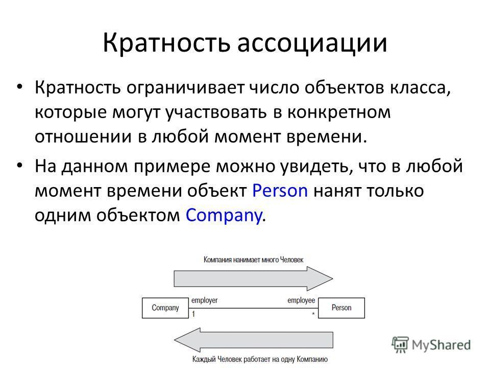 Кратность ассоциации Кратность ограничивает число объектов класса, которые могут участвовать в конкретном отношении в любой момент времени. На данном примере можно увидеть, что в любой момент времени объект Person нанят только одним объектом Company.