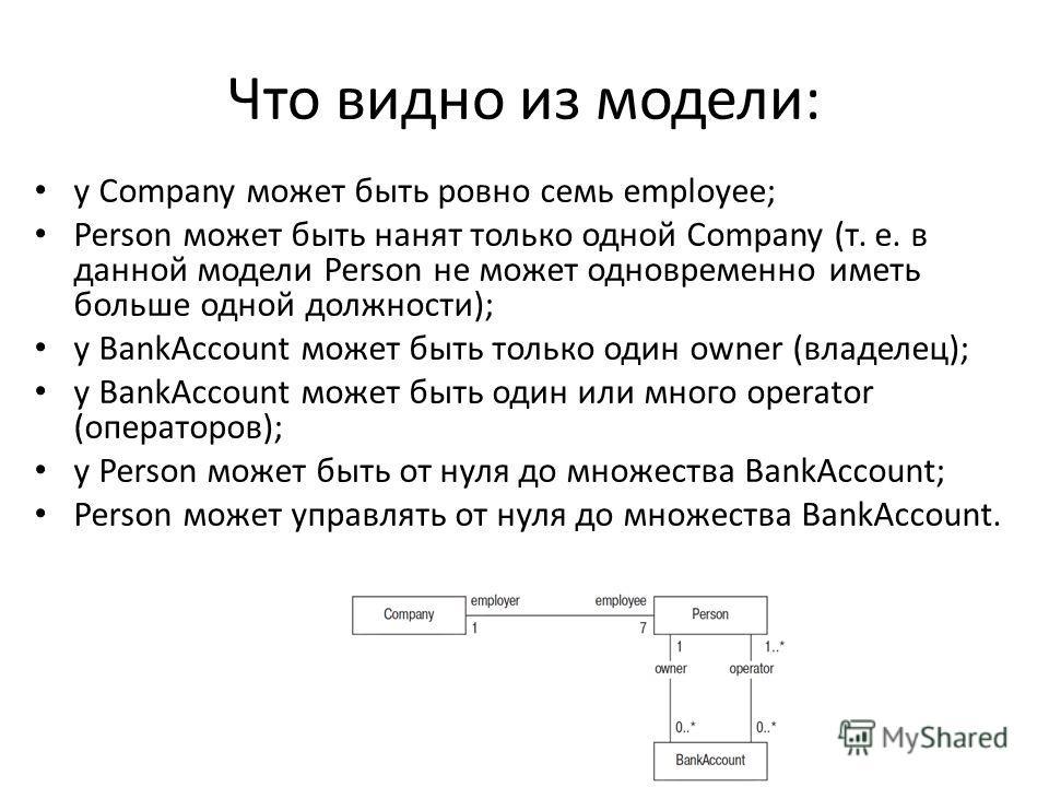 Что видно из модели: у Company может быть ровно семь employee; Person может быть нанят только одной Company (т. е. в данной модели Person не может одновременно иметь больше одной должности); у BankAccount может быть только один owner (владелец); у Ba