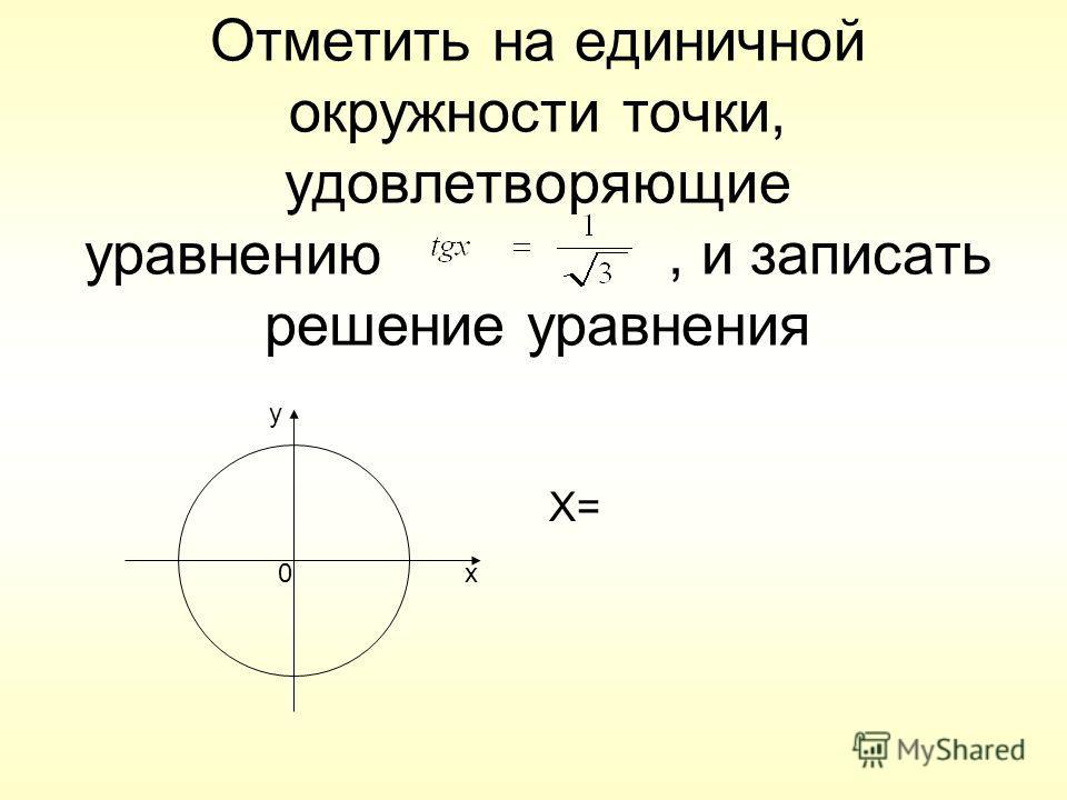 Отметить на единичной окружности точки, удовлетворяющие уравнению, и записать решение уравнения X= 0x y