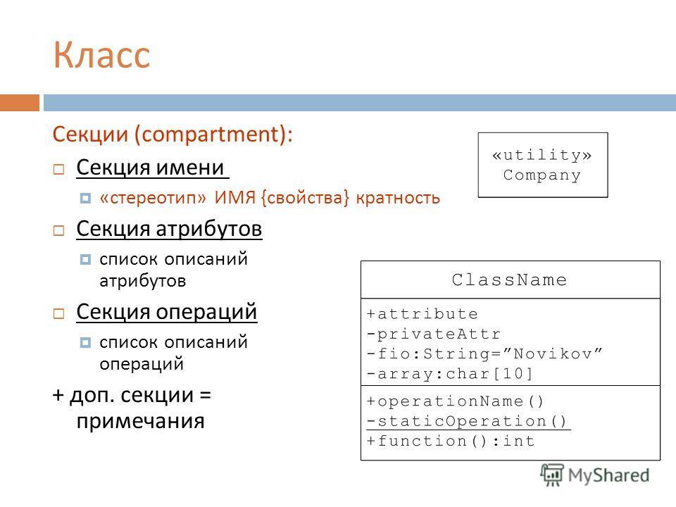 Класс Секции (compartment): Секция имени « стереотип » ИМЯ { свойства } кратность Секция атрибутов список описаний атрибутов Секция операций список описаний операций + доп. секции = примечания