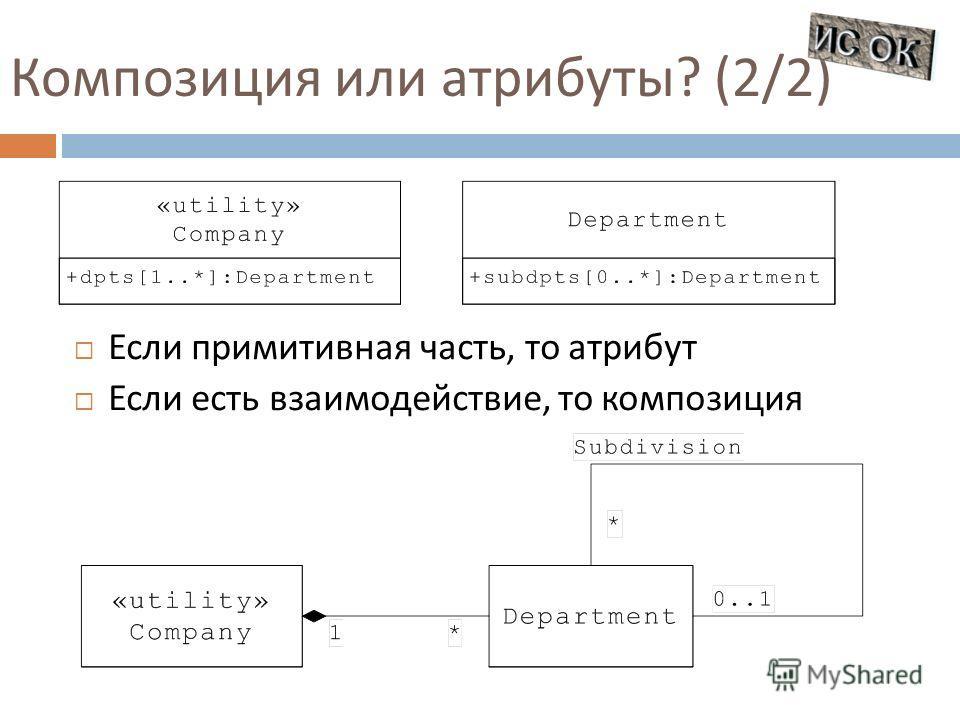 Композиция или атрибуты ? (2/2) Если примитивная часть, то атрибут Если есть взаимодействие, то композиция