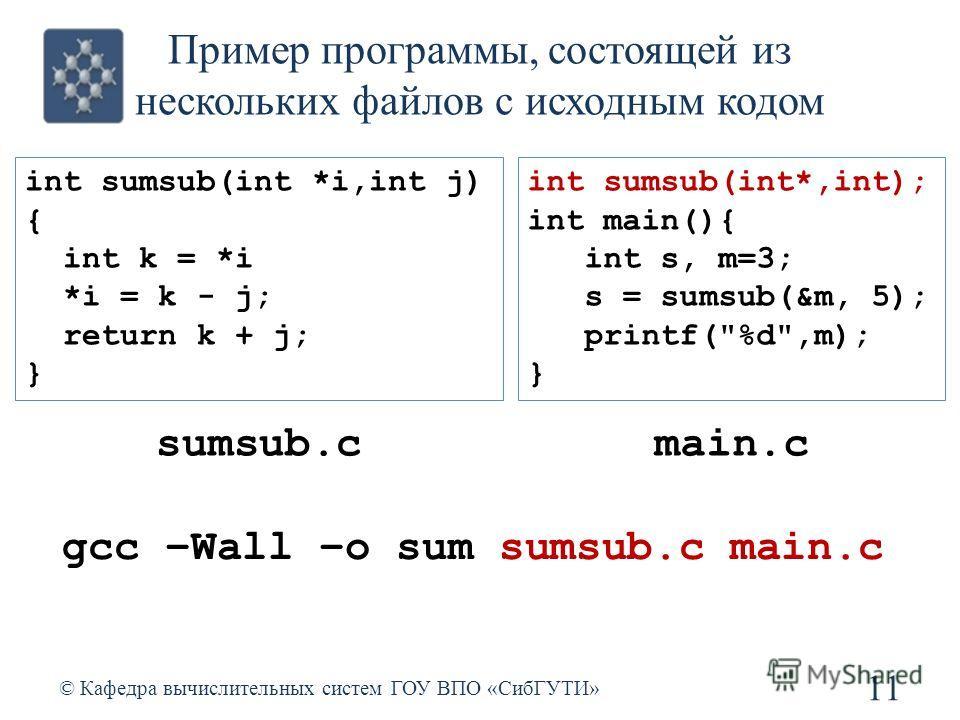 Пример программы, состоящей из нескольких файлов с исходным кодом 11 © Кафедра вычислительных систем ГОУ ВПО «СибГУТИ» int sumsub(int *i,int j) { int k = *i *i = k - j; return k + j; } int sumsub(int*,int); int main(){ int s, m=3; s = sumsub(&m, 5);