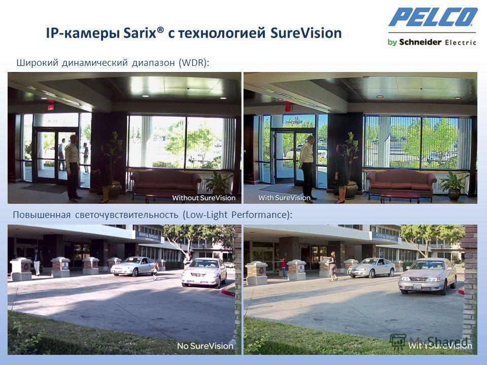 IР-камеры Sarix® с технологией SureVision Широкий динамический диапазон (WDR): Повышенная светочувствительность (Low-Light Performance):