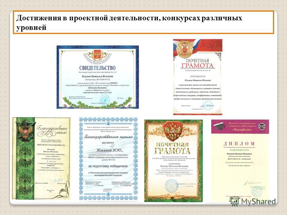 Достижения в проектной деятельности, конкурсах различных уровней