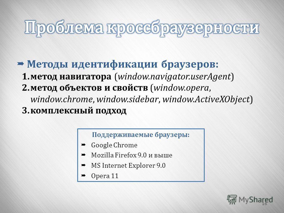 16 Методы идентификации браузеров : 1.метод навигатора (window.navigator.userAgent) 2.метод объектов и свойств (window.opera, window.chrome, window.sidebar, window.ActiveXObject) 3.комплексный подход Поддерживаемые браузеры : Google Chrome Mozilla Fi
