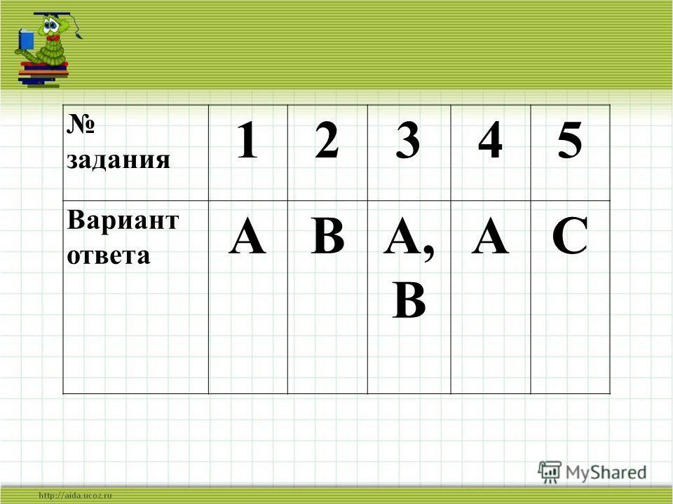 задания 12345 Вариант ответа АВА, В АС
