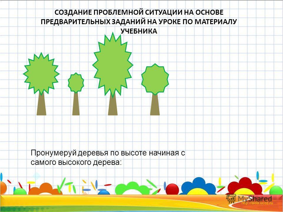 СОЗДАНИЕ ПРОБЛЕМНОЙ СИТУАЦИИ НА ОСНОВЕ ПРЕДВАРИТЕЛЬНЫХ ЗАДАНИЙ НА УРОКЕ ПО МАТЕРИАЛУ УЧЕБНИКА Пронумеруй деревья по высоте начиная с самого высокого дерева: