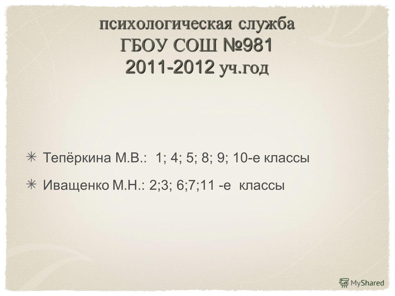 психологическая служба ГБОУ СОШ 981 2011-2012 уч. год Тепёркина М.В.: 1; 4; 5; 8; 9; 10-е классы Иващенко М.Н.: 2;3; 6;7;11 -е классы