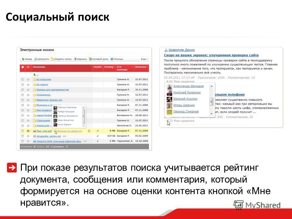 При показе результатов поиска учитывается рейтинг документа, сообщения или комментария, который формируется на основе оценки контента кнопкой «Мне нравится». Социальный поиск