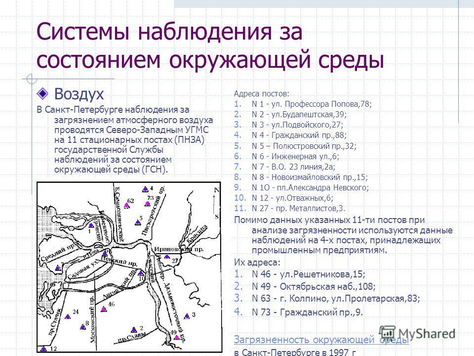 Системы наблюдения за состоянием окружающей среды Воздух В Санкт-Петербурге наблюдения за загрязнением атмосферного воздуха проводятся Северо-Западным УГМС на 11 стационарных постах (ПНЗА) государственной Cлужбы наблюдений за состоянием окружающей ср