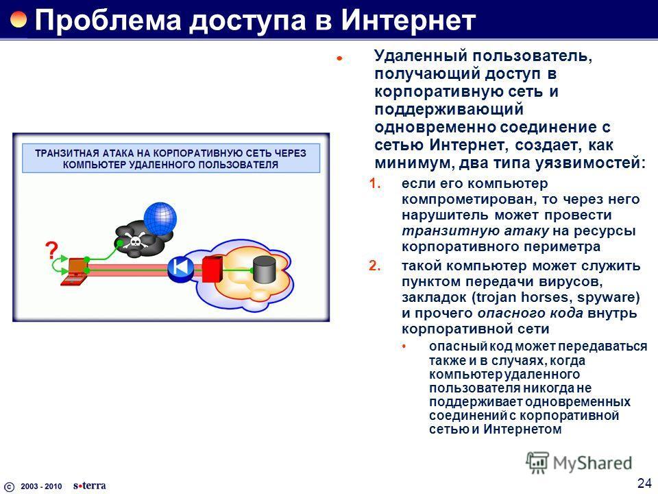 24 Проблема доступа в Интернет Удаленный пользователь, получающий доступ в корпоративную сеть и поддерживающий одновременно соединение с сетью Интернет, создает, как минимум, два типа уязвимостей: 1.если его компьютер компрометирован, то через него н
