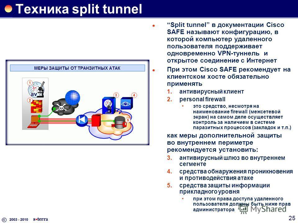 25 Техника split tunnel Split tunnel в документации Cisco SAFE называют конфигурацию, в которой компьютер удаленного пользователя поддерживает одновременно VPN-туннель и открытое соединение c Интернет При этом Cisco SAFE рекомендует на клиентском хос