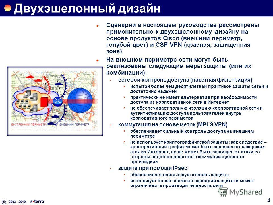 4 Двухэшелонный дизайн Сценарии в настоящем руководстве рассмотрены применительно к двухэшелонному дизайну на основе продуктов Cisco (внешний периметр, голубой цвет) и CSP VPN (красная, защищенная зона) На внешнем периметре сети могут быть реализован