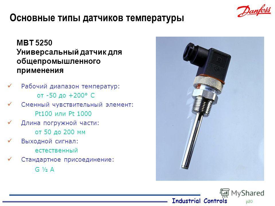 Industrial Controls p20 Основные типы датчиков температуры Рабочий диапазон температур: от -50 до +200° C Сменный чувствительный элемент: Pt100 или Pt 1000 Длина погружной части: от 50 до 200 мм Выходной сигнал: естественный Стандартное присоединение