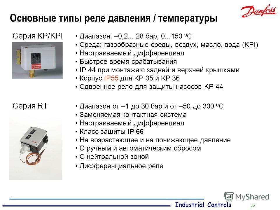 Industrial Controls p5 Основные типы реле давления / температуры Серия KP/KPI Диапазон: –0,2... 28 бар, 0...150 0 С Среда: газообразные среды, воздух, масло, вода (KPI) Настраиваемый дифференциал Быстрое время срабатывания IP 44 при монтаже с задней