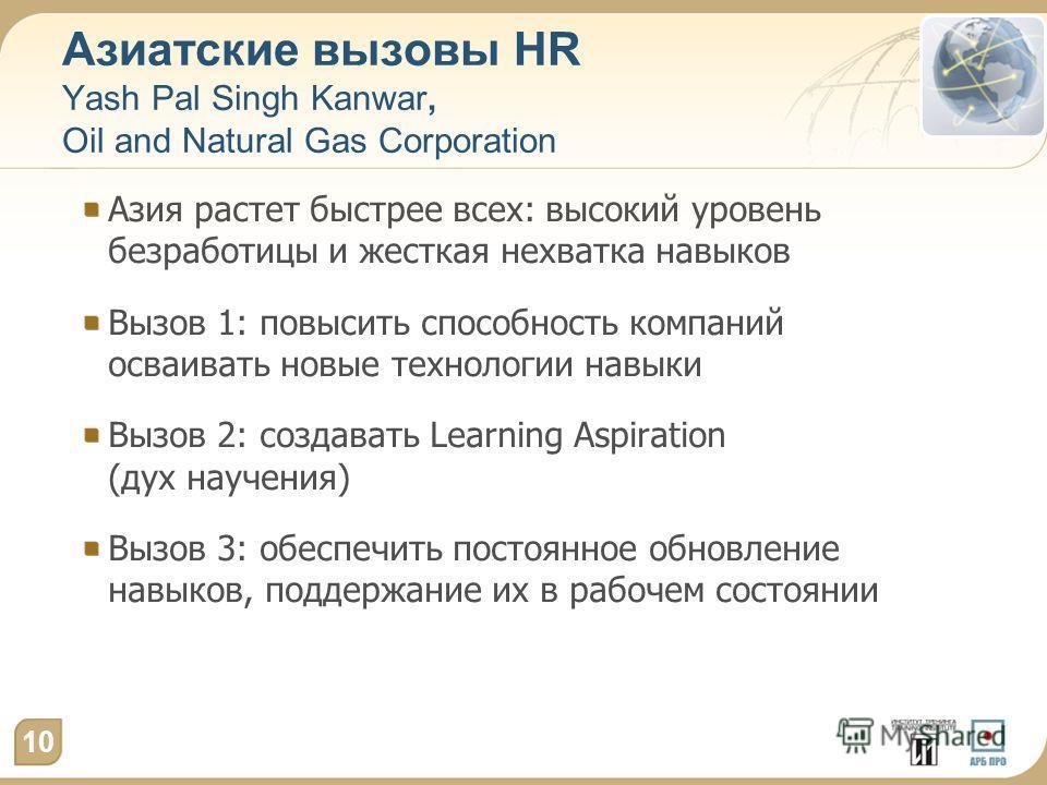 Азиатские вызовы HR Yash Pal Singh Kanwar, Oil and Natural Gas Corporation Азия растет быстрее всех: высокий уровень безработицы и жесткая нехватка навыков Вызов 1: повысить способность компаний осваивать новые технологии навыки Вызов 2: создавать Le