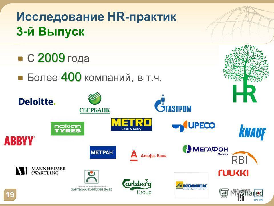 Исследование HR-практик 3-й Выпуск 2009 С 2009 года 400 Более 400 компаний, в т.ч. 19