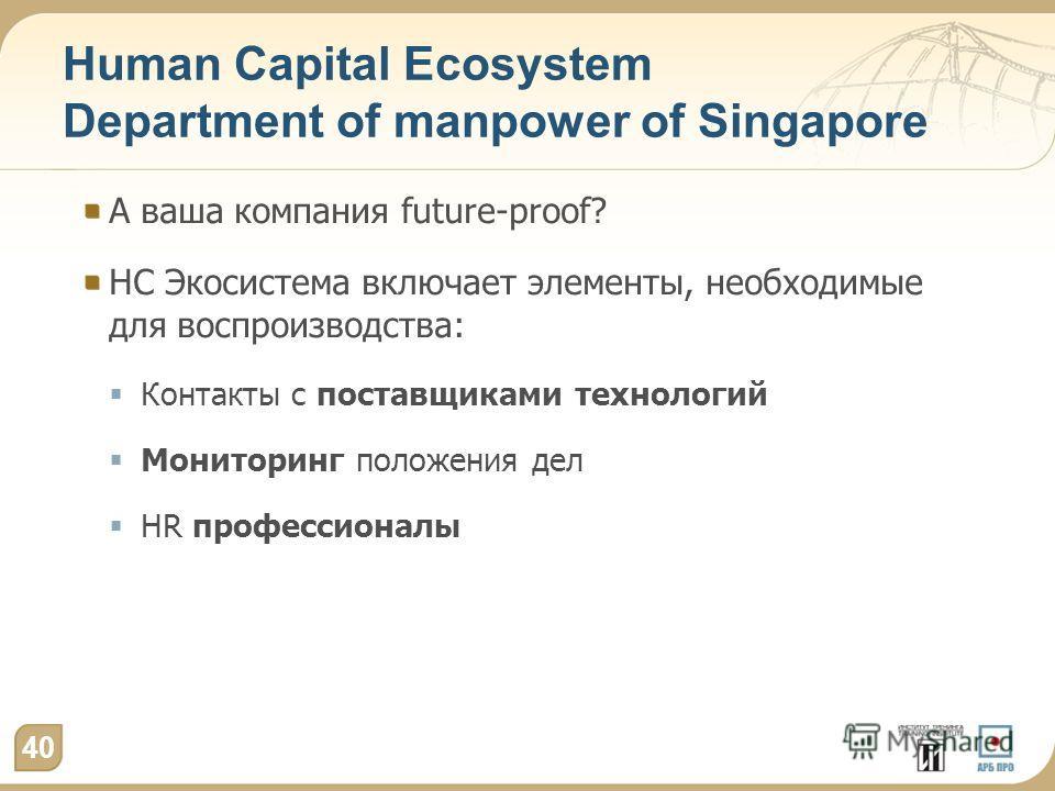 Human Capital Ecosystem Department of manpower of Singapore А ваша компания future-proof? HC Экосистема включает элементы, необходимые для воспроизводства: Контакты с поставщиками технологий Мониторинг положения дел HR профессионалы 40