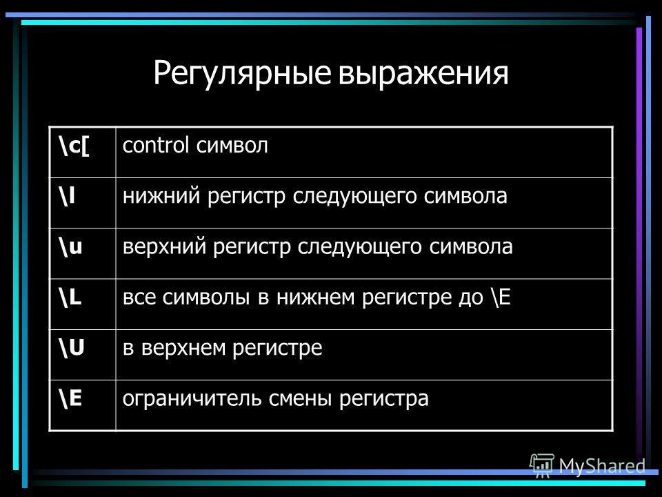 Регулярные выражения \c[control символ \lнижний регистр следующего символа \uверхний регистр следующего символа \Lвсе символы в нижнем регистре до \E \Uв верхнем регистре \Eограничитель смены регистра