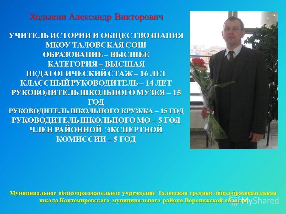 Ходыкин Александр Викторович УЧИТЕЛЬ ИСТОРИИ И ОБЩЕСТВОЗНАНИЯ МКОУ ТАЛОВСКАЯ СОШ ОБРАЗОВАНИЕ – ВЫСШЕЕ КАТЕГОРИЯ – ВЫСШАЯ ПЕДАГОГИЧЕСКИЙ СТАЖ – 16 ЛЕТ КЛАССНЫЙ РУКОВОДИТЕЛЬ – 14 ЛЕТ РУКОВОДИТЕЛЬ ШКОЛЬНОГО МУЗЕЯ – 15 ГОД РУКОВОДИТЕЛЬ ШКОЛЬНОГО КРУЖКА –