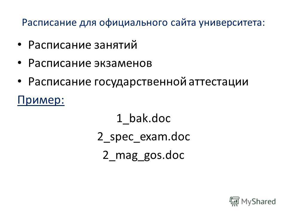 Расписание для официального сайта университета: Расписание занятий Расписание экзаменов Расписание государственной аттестации Пример: 1_bak.doc 2_spec_exam.doc 2_mag_gos.doc