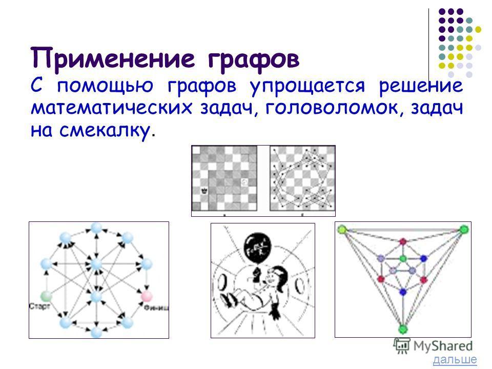 С помощью графов упрощается решение математических задач, головоломок, задач на смекалку. дальше
