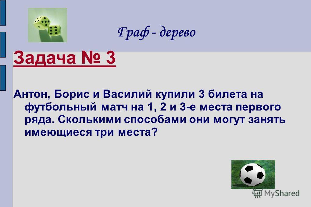 Граф - дерево Задача 3 Антон, Борис и Василий купили 3 билета на футбольный матч на 1, 2 и 3-е места первого ряда. Сколькими способами они могут занять имеющиеся три места?
