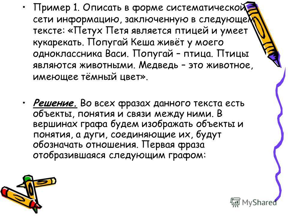 Пример 1. Описать в форме систематической сети информацию, заключенную в следующем тексте: «Петух Петя является птицей и умеет кукарекать. Попугай Кеша живёт у моего одноклассника Васи. Попугай – птица. Птицы являются животными. Медведь – это животно