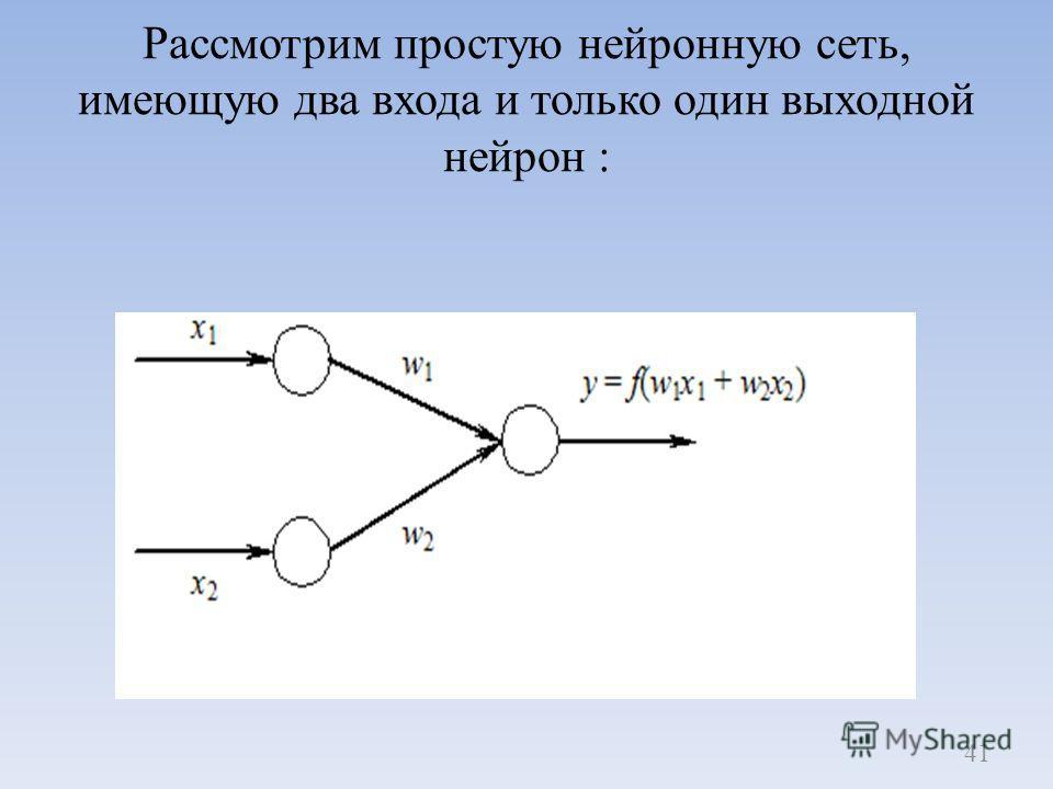 Рассмотрим простую нейронную сеть, имеющую два входа и только один выходной нейрон : 41