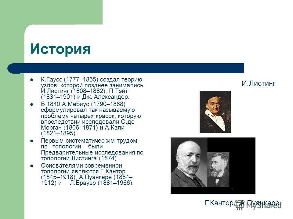 История К.Гаусс (1777–1855) создал теорию узлов, которой позднее занимались И.Листинг (1808–1882), П.Тэйт (1831–1901) и Дж. Александер. В 1840 А.Мёбиус (1790–1868) сформулировал так называемую проблему четырех красок, которую впоследствии исследовали