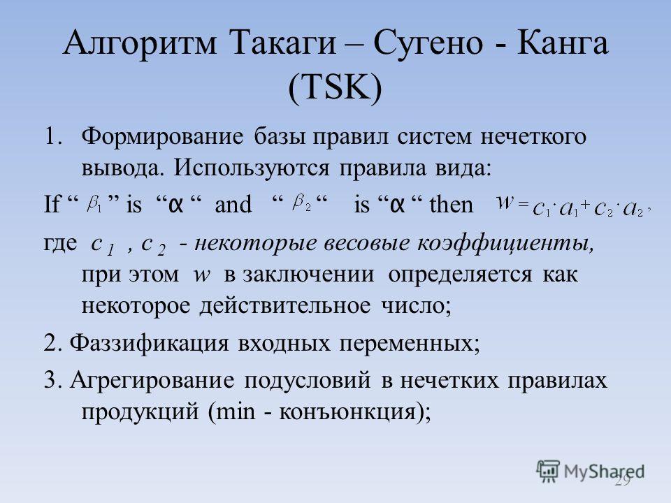 Алгоритм Такаги – Сугено - Канга (TSK) 1.Формирование базы правил систем нечеткого вывода. Используются правила вида: If is α and is α then где c 1, c 2 - некоторые весовые коэффициенты, при этом w в заключении определяется как некоторое действительн