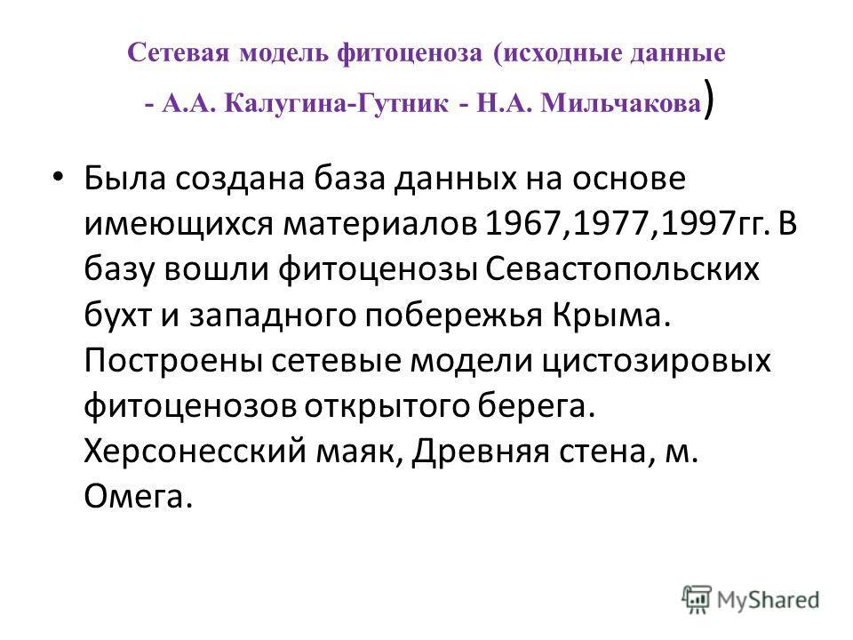 Сетевая модель фитоценоза (исходные данные - А.А. Калугина-Гутник - Н.А. Мильчакова ) Была создана база данных на основе имеющихся материалов 1967,1977,1997гг. В базу вошли фитоценозы Севастопольских бухт и западного побережья Крыма. Построены сетевы